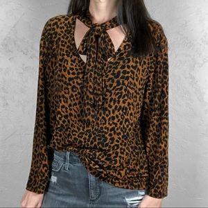Vintage Leopard Print Tie Neck Blouse